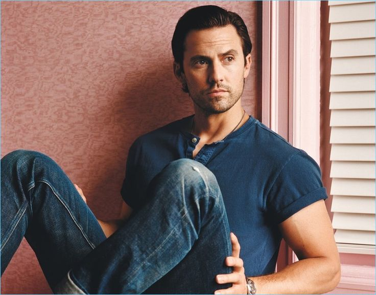 This Is Us actor Milo Ventimiglia wears a Current/Elliott shirt with his own denim jeans.