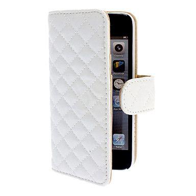 pu læder full body tilfældet med kort slot og magnetisk snap for iphone 5/5s (hvid) – DKK kr. 59