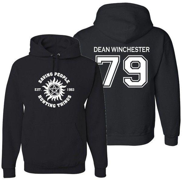 Supernatural Dean Winchester Hoodie ($30) ❤ liked on Polyvore featuring tops, hoodies, hoodie top, sweatshirt hoodies, hooded pullover and hooded sweatshirt