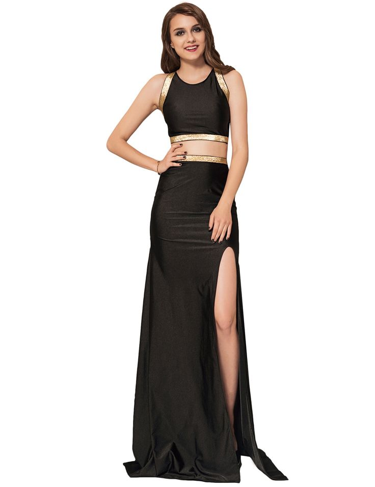 Plus Size 2pc Black Maxi Formal Dress Criss Cross Back Party Gown
