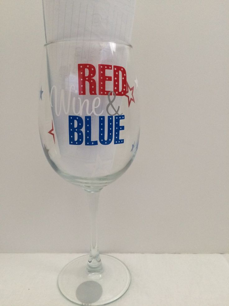 4th of July wine glass- Red Wine &Blue wine glass by sewnbyamanda on Etsy