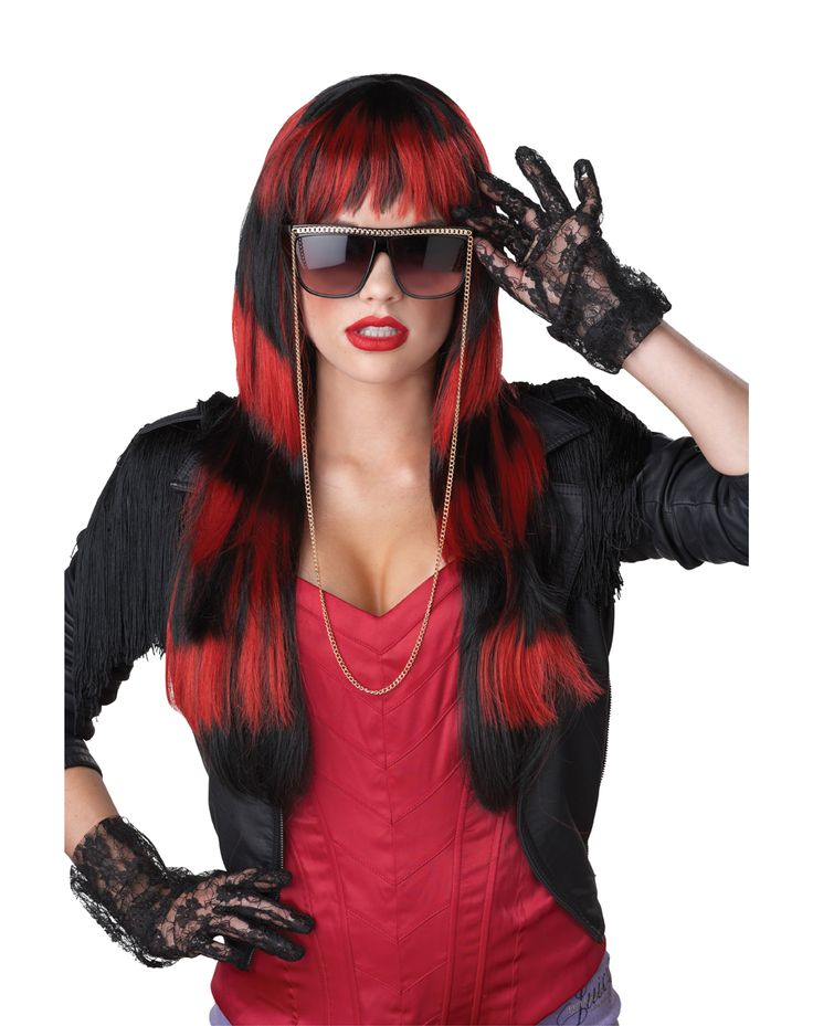 pair this punk costume accessory with your adult costume to complete your look untamed adult wig blackred includes one black and red wig with long layers - Red Wigs For Halloween