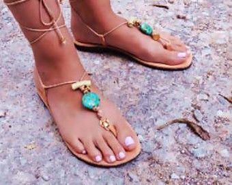 Boheemse sandalen Mammoet Griekse lederen sandalen