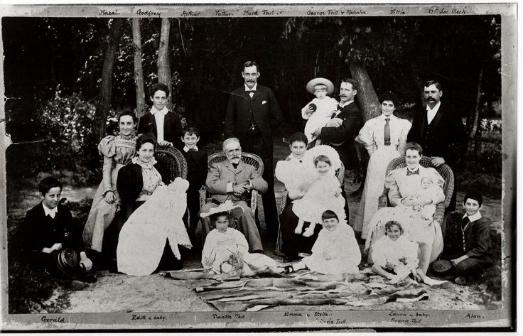 """Tait/ Sichel extended family. Taken in about 1898 Just before """"Murd"""" Murdoch Morison Tait, committed suicide."""