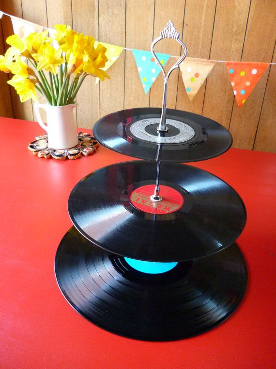 3-tier Record cake stand Wedding Party Cake by WhenTheMusicsOver