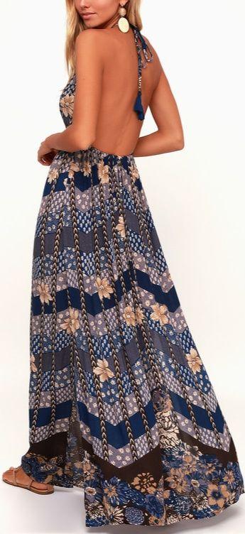 f0e1feba79 The O'Neill Annalisa Blue Multi Floral Print Halter Maxi Dress is here to  save