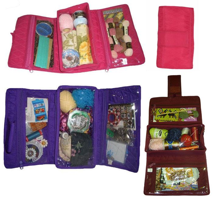 Organizer : Craft Folding Kit / 1 pc This fold-up kit is perfect for craft accessories. Triple fold with Velcro tabs to close. There are 2 horizontal pockets and the centre compartment has an expandable base to fill with bulky items. A great idea to carry your craft items when travelling or to class. This folding kit would also be convenient to carry your toiletries and make-up when travelling. The list is endless! The perfect gift idea.
