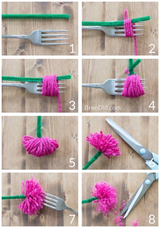 DIY-Blumenkronen mit einfachen Quastenblumen – #crafts #DIYBlumenkronen #einfach