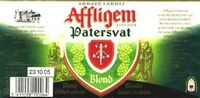 Affligem Patersvat Blond Sterkte : 6,8 % Een donkerblond, amberkleurig kerstbier. Een kruidige neus met een volle smaak. Een lange afdronk met sterk nablijvende smaak.