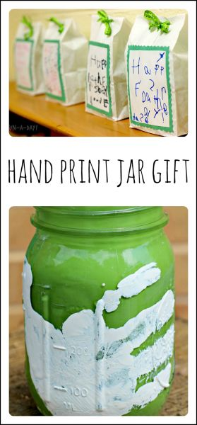 Hand Print Mason Jar Craft for Kids to Give as a Gift for Father's Day by @Mary Catherine @ Fun-A-Day!