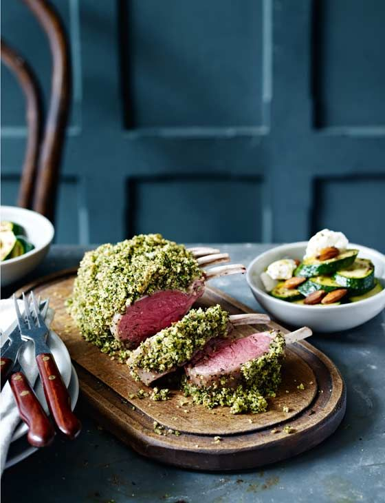 Herby rack of lamb with lemon ricotta courgettes | This roast recipe is great for the weekend! The ricotta courgettes really make this dish incredible.