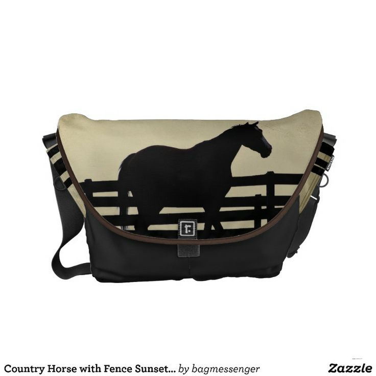 Country Horse with Fence Sunset Messenger Bag New