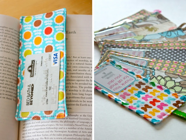 Fabric bookmark with vinyl pocket for gift card or note.  Great gift idea!  From Zaaberry