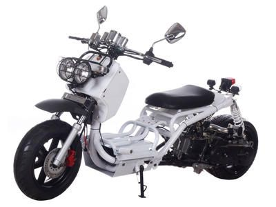 """SCO044 50cc Scooter 2013 New Model, Stretched, Low and Fat Design, Automatic Transmission, Front Disc/Rear Drum Brake, 12"""" Aluminum Wheels, Metallic Paint, Performance Muffler  $1699.00"""