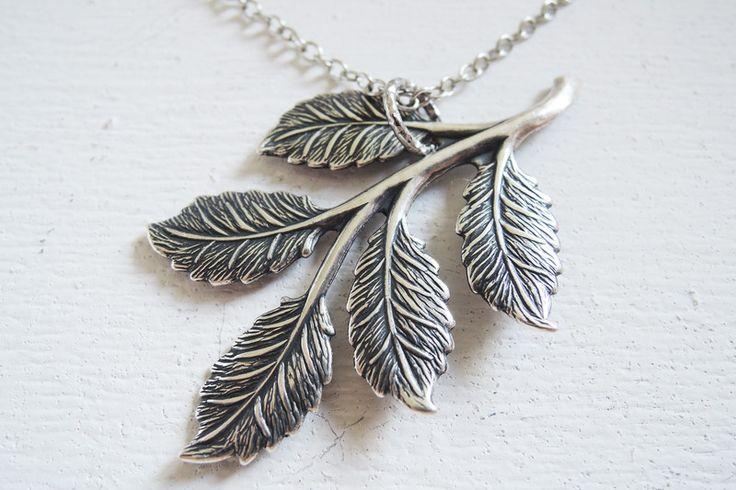 Versilberte Ketten - Antikes Blatt Halskette fallen 925 Sterling Silber - ein Designerstück von MadamebutterflyMeagan bei DaWanda