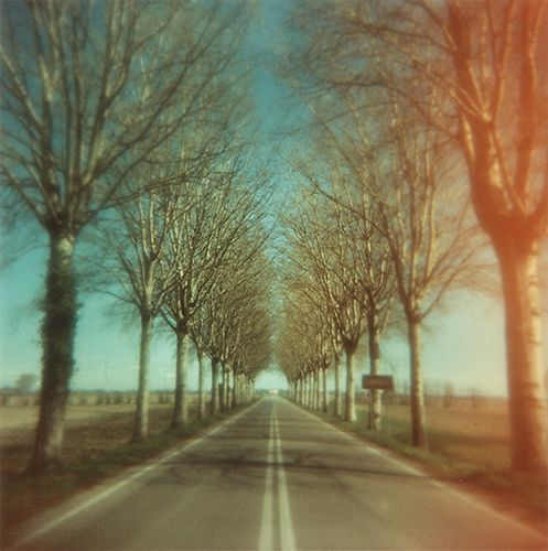 a nice symmetrical photo but double exposed with different gels over each side of the lens