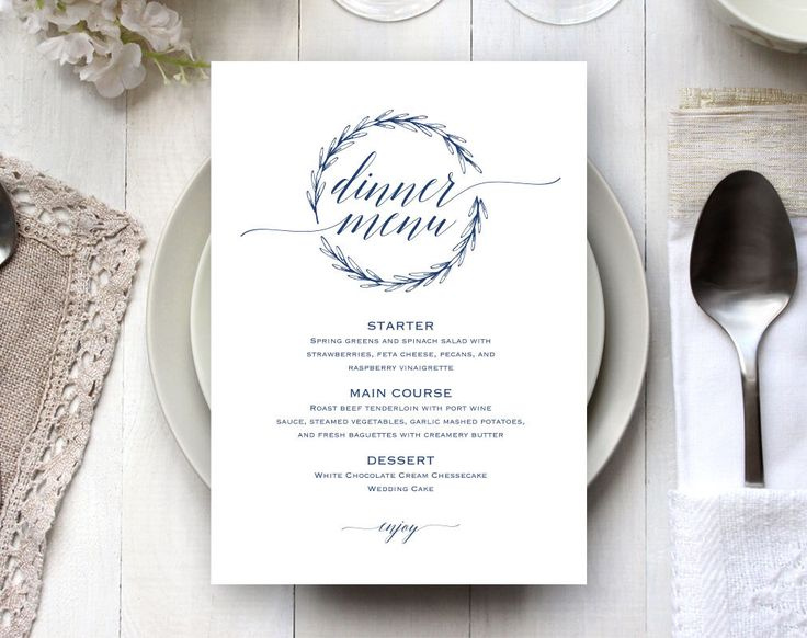 Best  Wedding Menu Template Ideas On   Wedding Dinner