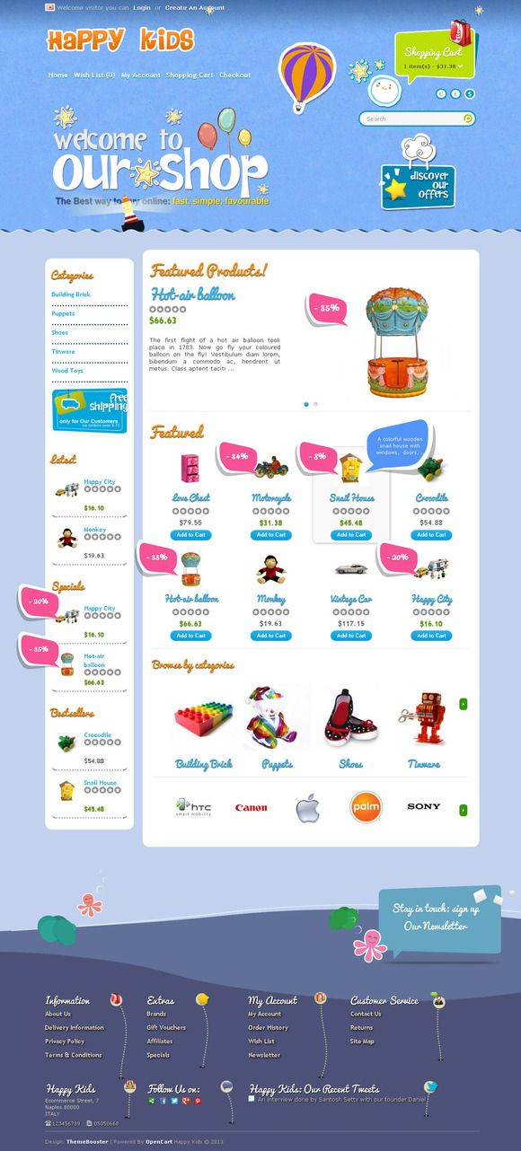 HappyKids OpenCart Responsive Theme by ThemeBooster.com on Creative Market