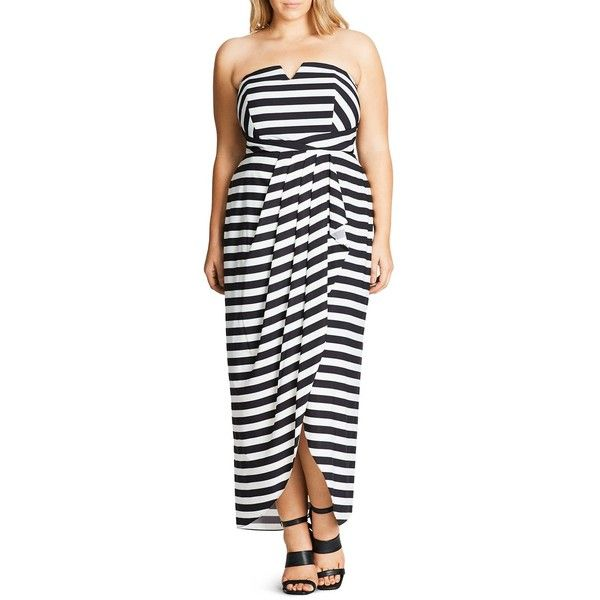 City Chic Fair Lady Maxi Dress ($160) ❤ liked on Polyvore featuring dresses, black, stripe maxi dress, graphic print dress, strapless dress, city chic dresses and strapless maxi dress