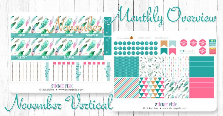 November Monthly Overview Kit for use with Erin Condren Monthly View Vertical Colors by StickerPixie on Etsy https://www.etsy.com/listing/483945995/november-monthly-overview-kit-for-use