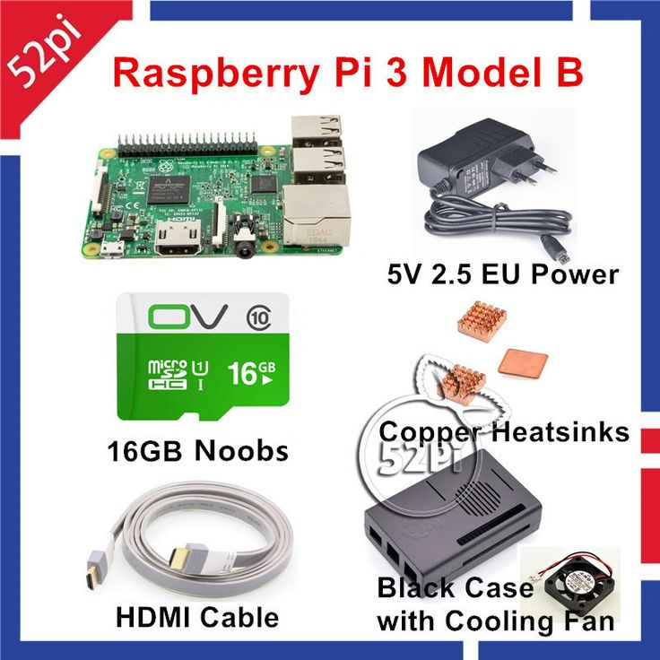 52Pi 2017 New Raspberry Pi 3 Model B NOOBS Starter Kit with Pi 3 Board+16G SD NOOBS+HDMI+EU/US/UK/AU Power+Heatsinks+Case+Fan