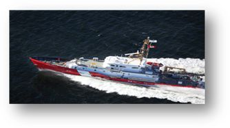 CCGS  Caporal Kaeble V.C.  Class: Mid-shore Patrol Vessel. A medium-sized vessel that can operate up to 120 NM offshore, capable of staying at sea for 14 days. It is used primarily for maritime security and fisheries enforcement. Home port: Sorel, Que. Length: 42.8 m  Beam: 7.0 m Gross tonnage: 253 t Crew/officer capacity: 9  Cruising speed: 14 kts  Builder: Irving Shipbuilding Inc.    Launched: 2012 Status: New vessel to be named and dedicated this year
