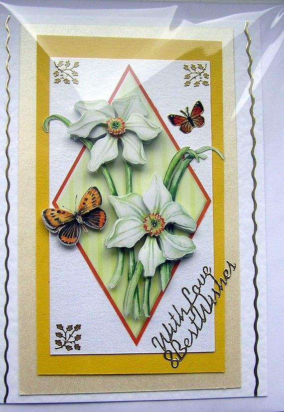Daffodil HandCrafted 3D Decoupage Card  With Love by SunnyCrystals, £1.65