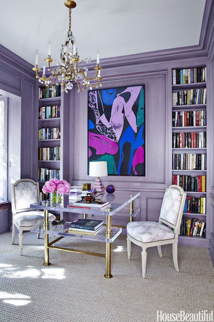 best 25 purple office ideas only on pinterest accent walls the study in this home walls were painted lavender then streaked with gray for a more subdued effect an ornate bagues chandelier pairs with a streamlined