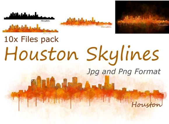 10x files Pack Houston Skylines by HQPhoto Store on @creativemarket
