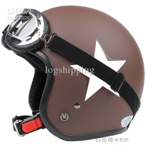 Wholesale Vespa Helmet &3/4& Retro Motorcycle Cycling Half Face Racing Matt Coffee # White Star Stripe Casco & UV Goggles Adult For Summer -- I.09, Free shipping, $54.92/Piece   DHgate Mobile