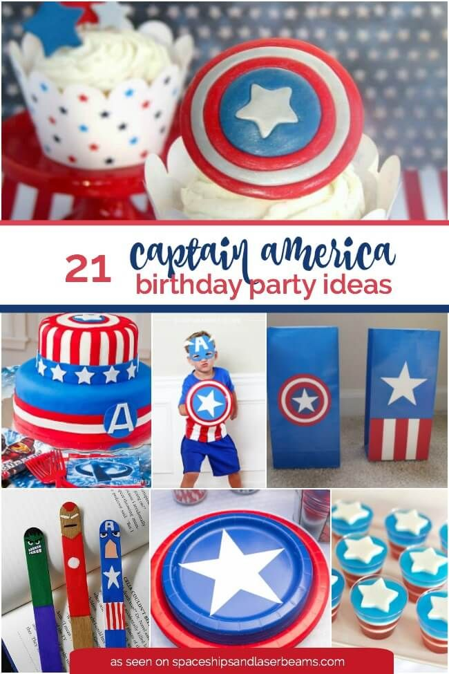 Little boys (and girls) love Captain America, making it a great birthday party theme. You'll have so much fun planning a party with the 21 Captain America party ideas included in this roundup! There are details on making your own fondant cupcake shields or... #captainamerica #diy #partyideas