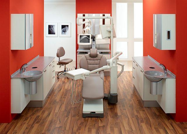 dental office design | side cabinets with sinks both sides
