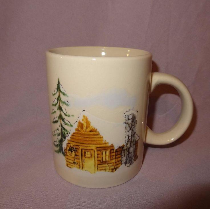 Winter Cabin Coffee Mug 12 oz Cup Stoneware Test Rite International Company #TestRiteInternationalCompany