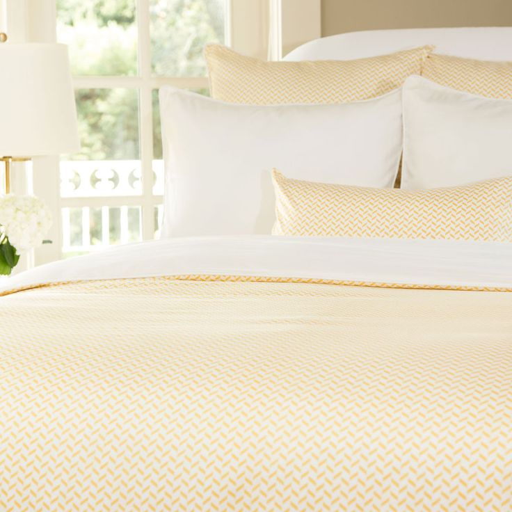 Great site for designer bedding | The Larkin Yellow Duvet Cover | Crane and Canopy