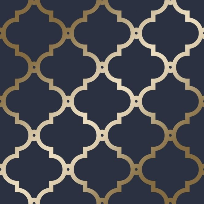 Holden Decor Laticia Navy Blue Silver Geometric Wallpaper 65493 SAMPLE ONLY