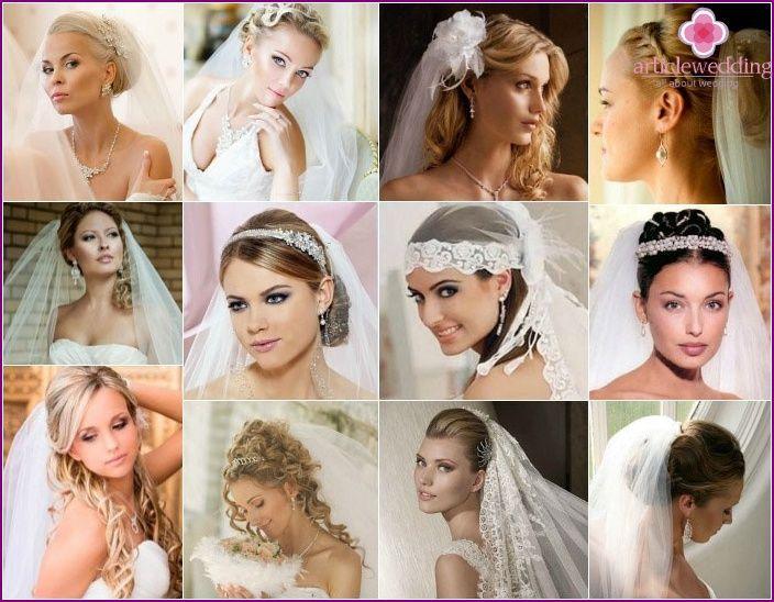 Svatební účesy pro dlouhé vlasy závojem a čelenkou, rány