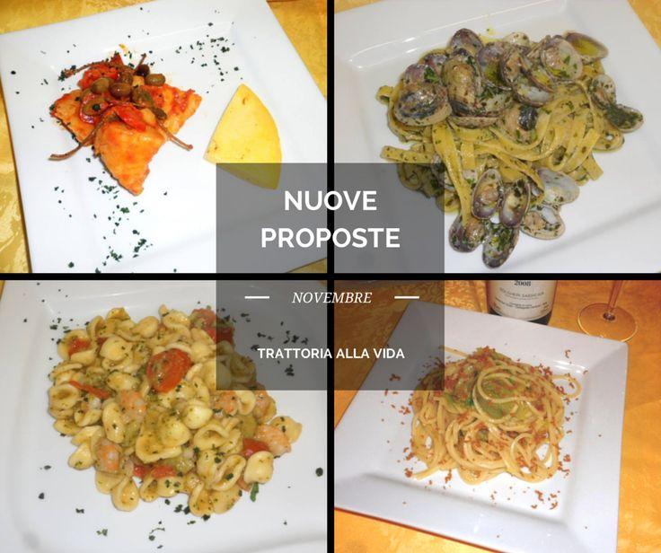 Filetto di Baccalà in umido con olive Taggiasche Tagliolini con Vongole, Pesto fresco e Robiola Orecchiette con Gamberi, Broccoli e Pomodorini Spaghetti quadrati con bottarga di Muggine e scarola
