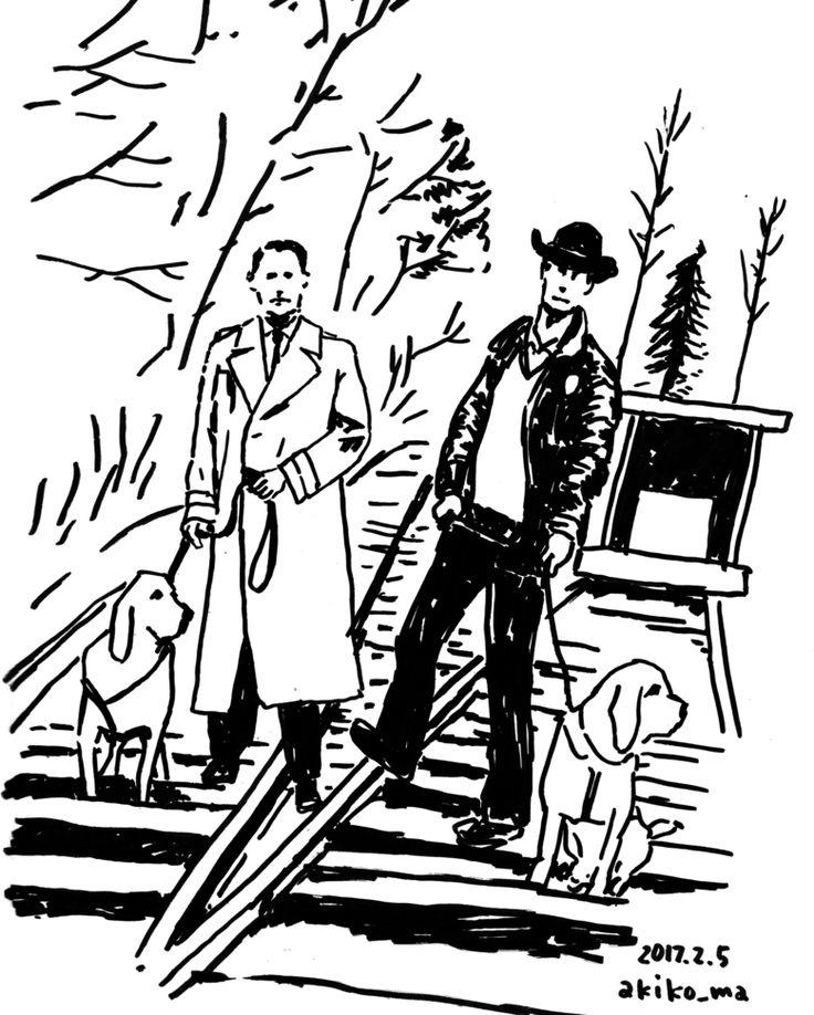 #ツインピークス ローラーの死後下着姿で発見されたロネットが暴行されたとされる現場の検証に警察犬を連れて向かうクーパー捜査官と保安官#morningdraw #akikomaegawa #illustration #monochrome #前川明子 #イラスト #線画 #白黒 #イラストレーション #twinpeaks #davidlynch #デヴィッドリンチ #朝活 #showtime #フェルトペン #カイルマクラクラン #dalecooper #specialagent #kylemaclachlan #dog #line #railroad #線路