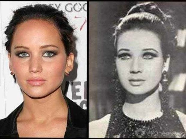 Jennifer Lawrence and Egyptian actress Zubaida Tharwat  Not only do these two look like twin sisters…but they both went into the same profession, acting. Tharwat was born in Alexandria in 1940 and retired from acting in the late 80s…and what happened in 1990? Jennifer Lawrence was born! To continue the acting legacy!?! Anything's possible…