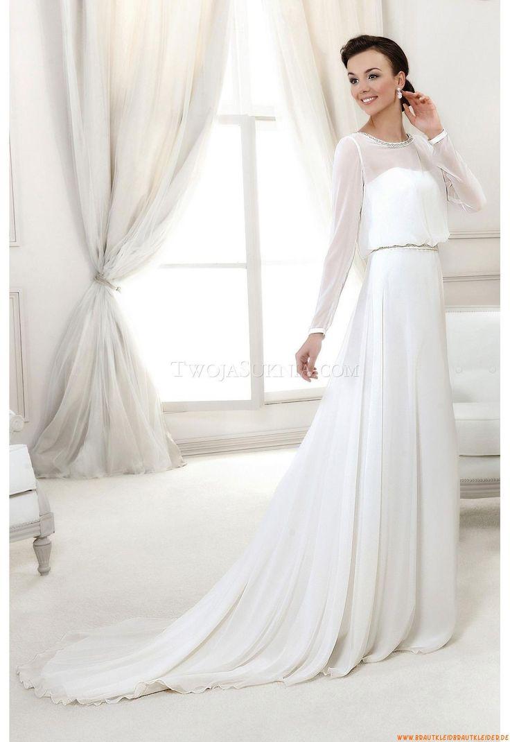 Preiswerte Schlichte Brautkleider aus Chiffon mit Perlenstickerei