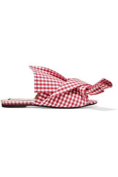 EXCLUSIVE AT NET-A-PORTER.COM. It's the artful, nonchalant folds of N°21's signature knot that first caught our eye. These Italian-made slides are cut from red and white gingham twill and lined in lightly cushioned leather for a smooth, comfortable fit. Wear yours with crisp shirts and shorts.