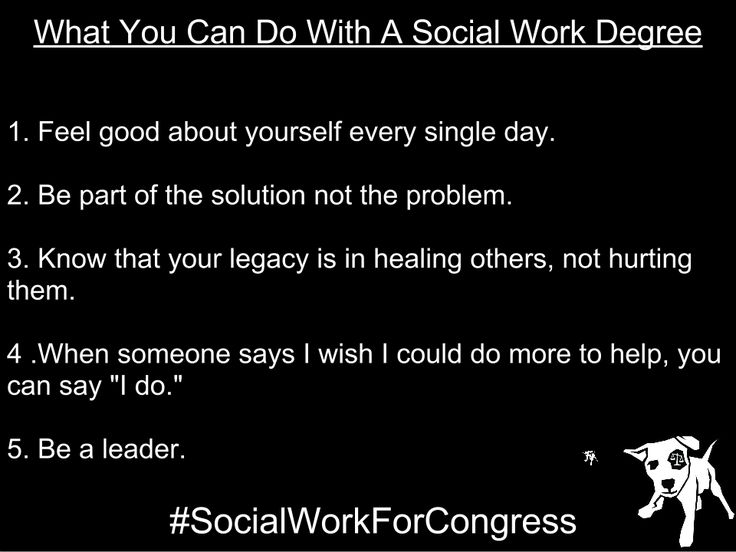 What You Can Do With a Social Work Degree by Social Justice Solutions (from their FB page)