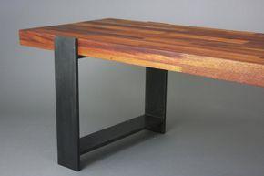 Banco de acero y madera de caoba por HucsonFabricationCo en Etsy