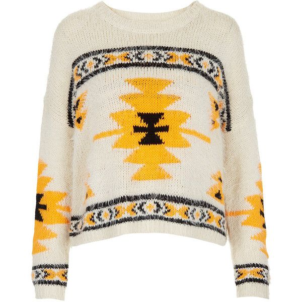 TOPSHOP Knitted Hairy Aztec Jumper (160 RON) ❤ liked on Polyvore featuring tops, sweaters, shirts, jumper, cream, aztec design shirts, cream sweater, aztec sweater, aztec top and aztec pattern sweater