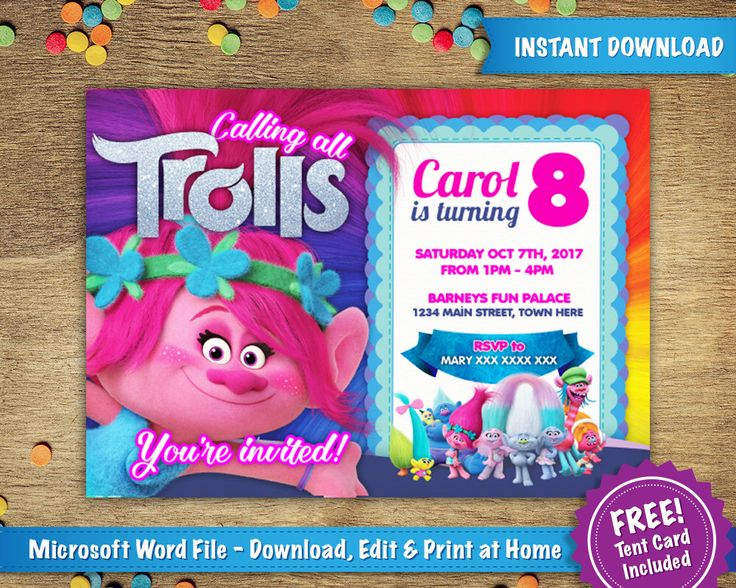 DIY Printable 5x7 Trolls Poppy Birthday Party Invitation Template | FREE Tent Card Included  | Instant Download - Microsoft Word by InvitingTemps on Etsy https://www.etsy.com/listing/504457483/diy-printable-5x7-trolls-poppy-birthday
