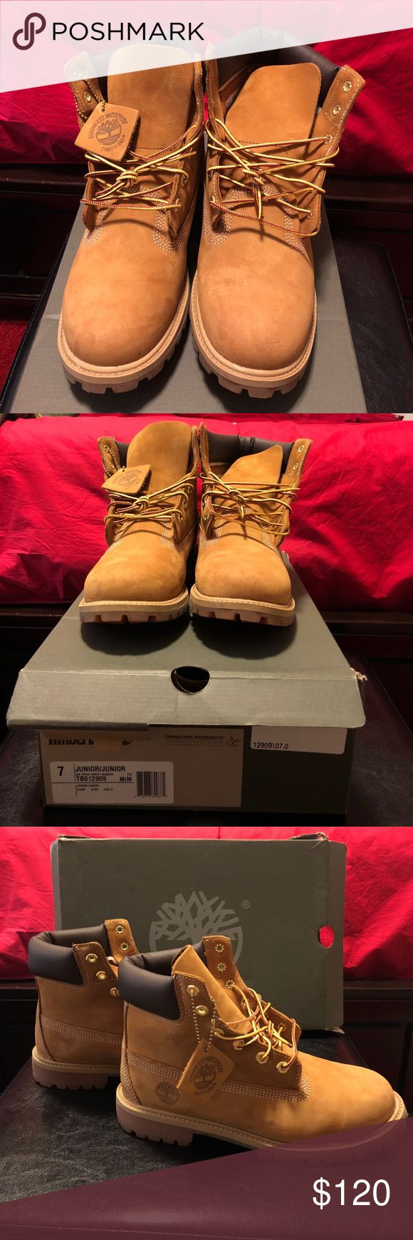 Timberland 7 junior boot Timberland boots size 7 junior. Only worn twice! Wheat Nubuck color. Timberland waterproof boot. Perfect for the winter time! Timberland Shoes Boots