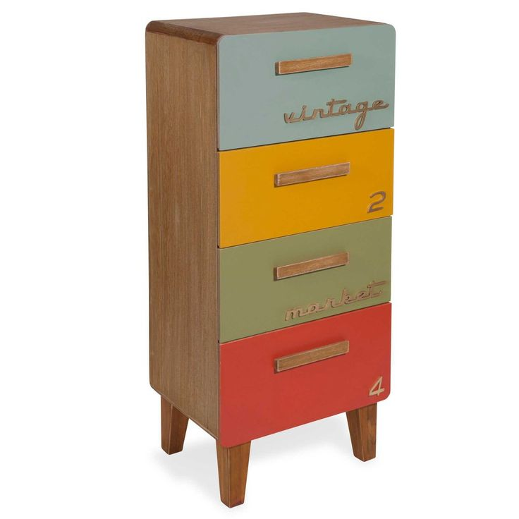 MARKET small unit with 4 multicoloured drawers