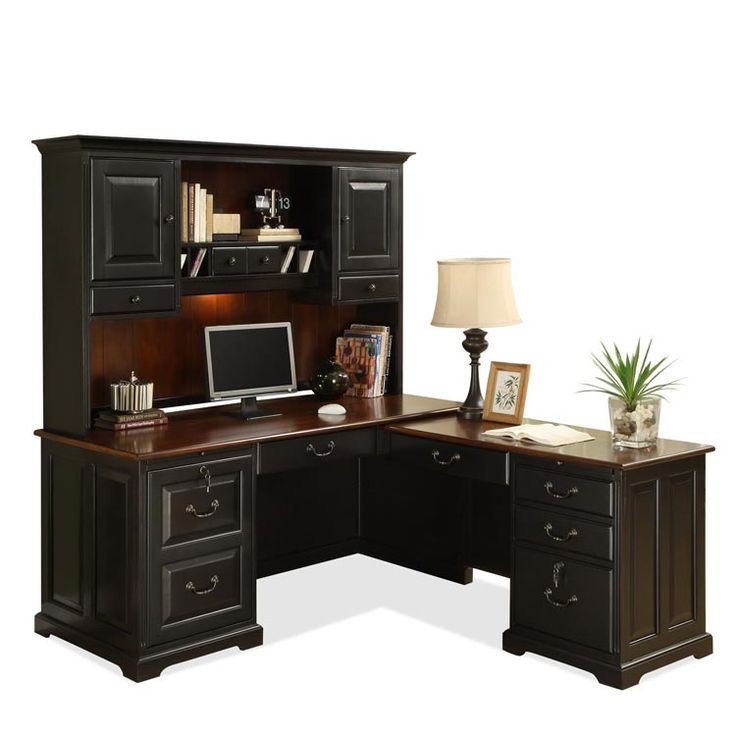 L Shaped Computer Desk with Hutch Antique Black / Burnished Cherry by Riverside - 1-800-460-0858 - Free Shipping - Office Furniture 2go.com