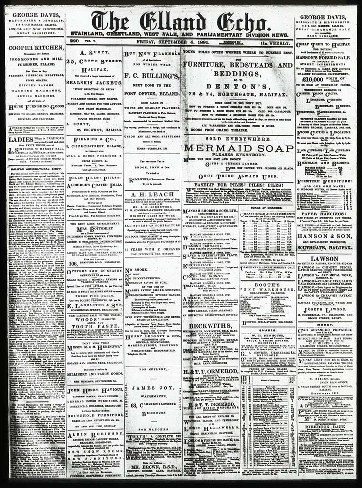 A slide from the Elland Echo featuring the first A.H Leach & Co advertisement.