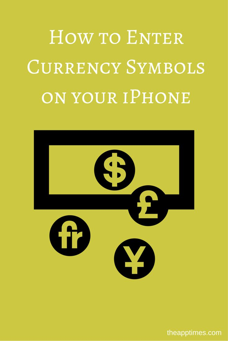 Learn how to enter currency symbols on your iPhone that are other than the currency symbol of your home country such as the dollar, euro, and yuan.